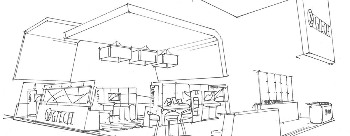 Exhibit Design Sketch Rendering, GTECH Custom Branded Environment