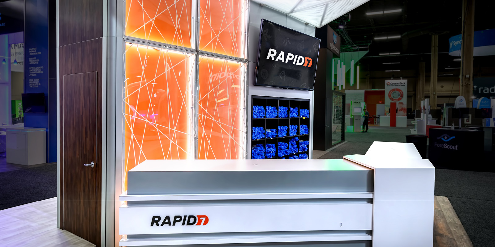 Hill & Partners Rental Branded Environment Trade Show Exhibit for Rapid7