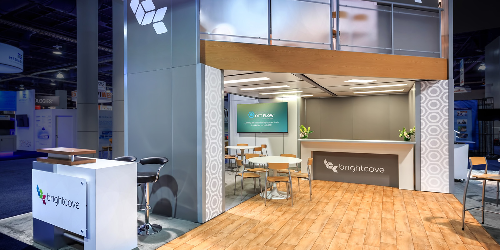 Hill & Partners Rental Branded Environment Trade Show Exhibit for Brightcove