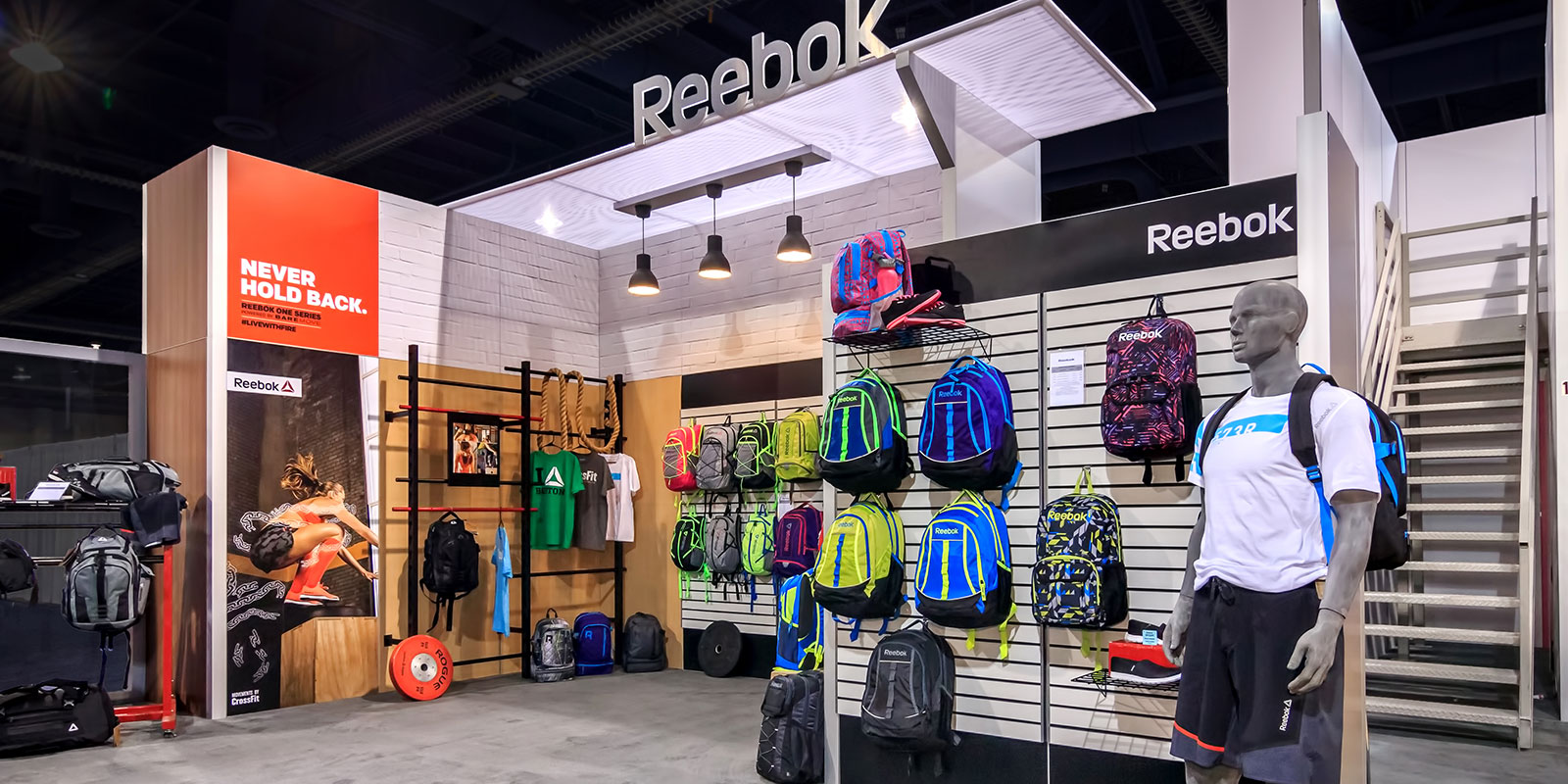 Hill & Partners Rental Branded Environment  Trade Show Exhibit for Reebok / Samsonite